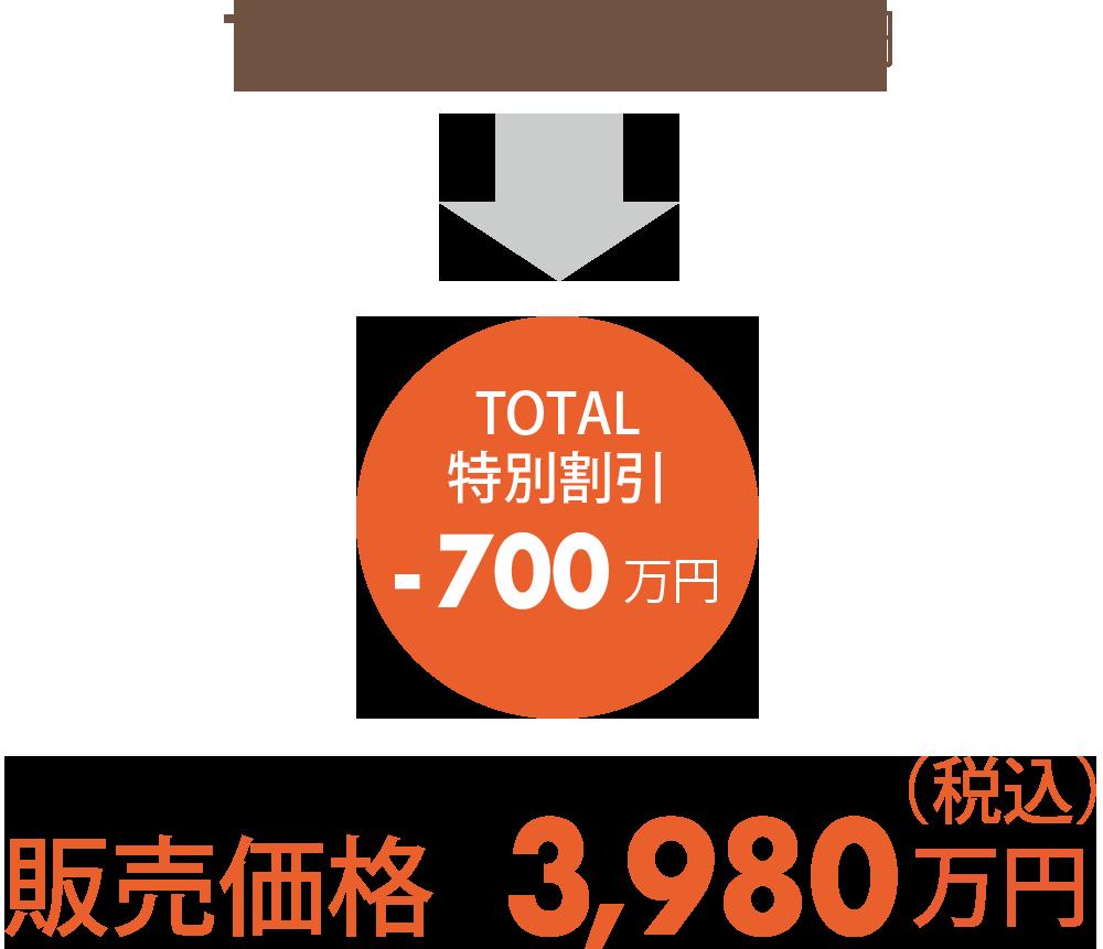 トータル4500万円→(合計特別割引-700万円)=特別販売価格3,980万円(税込)